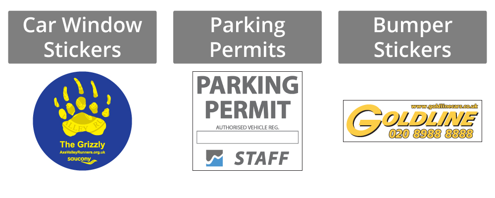Car window stickers, parking permits and bumper stickers