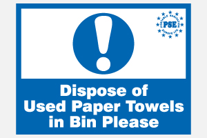 Dispose of used paper towells in bin